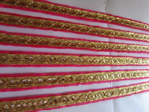 Borte Elegante Nichtelastisch Gold Magenta 1.2cm Breit # BB 666 N