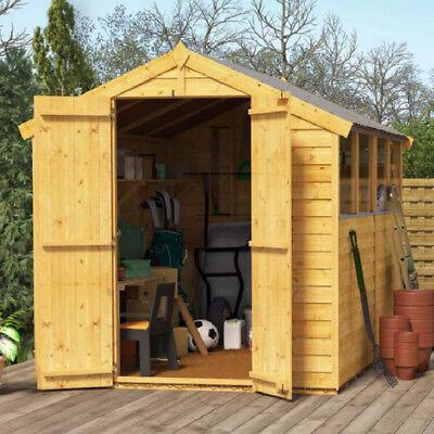 8x6 Overlap Wooden Shed Garden Store Double Door Window Apex Roof Felt 8ft x 6ft