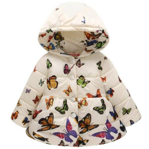 Toddler Kid Girls Winter Warm Floral Hoodies Coat Padded Casual Jackets Snowsuit