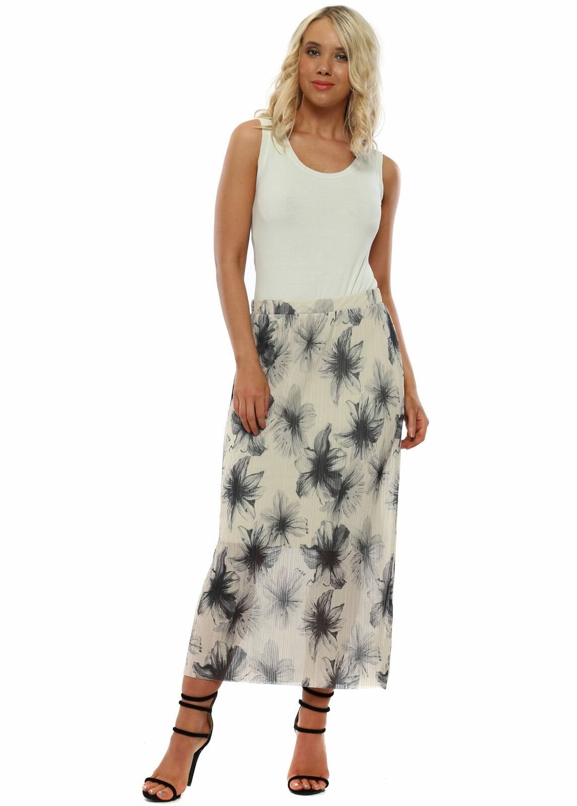 A Postcard From Brighton Mae Coconut Floral Maxi Skirt