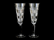 Ralph Lauren Glen Plaid Classic Crystal Champagne Toasting Flutes Glasses Signed