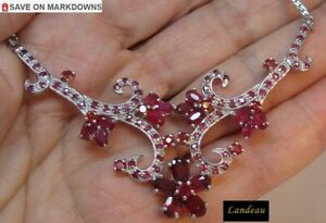11-4-ct-RED-PINK-RUBY-FLOWER-NECKLACE