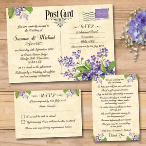 Details About Day Or Evening Wedding Invitation Rsvp Card Gift Poem Vintage Postcard Purple