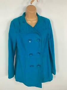 WOMENS-MONSOON-BLUE-DOUBLE-BREASTED-BUTTON-CASUAL-MID-LENGTH-COAT-JACKET-SIZE-10