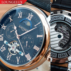Mens-Flywheel-Automatic-Mechanical-Watch-Rose-Gold-Black-Dial-Moon-Phase