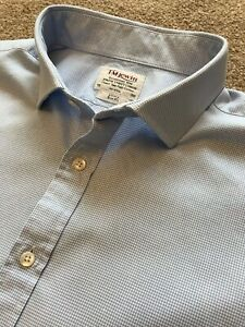 Double Cuff T.M.Lewin   Slim Fit Blue Dogtooth Basket Weave Shirt
