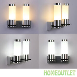 Warm White Modern Sconce Wall Light Fitting Polished Chrome Glass Lamp UK eBay