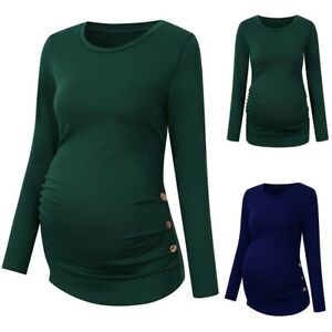 Women-Mom-Pregnancy-T-Shirt-Long-Sleeve-Solid-Tops-Maternity-Blouse-Tee-Clothes