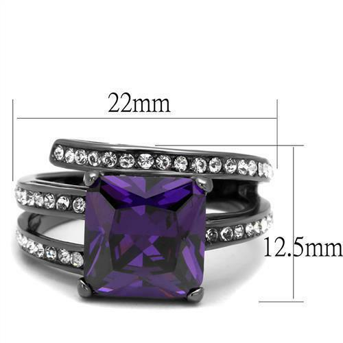 Princess Square Cut Purple Amethyst CZ Black Stainless Steel Cocktail Ring