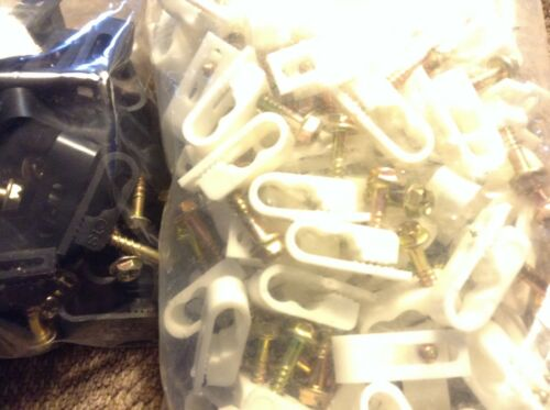 QUALITY NEW CLIPS! 100 DUAL MOUNTING CABLE CLIPS SCREW IN PERMANENT MOUNT