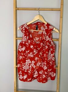 Edited-Size-12-Red-Satin-Floral-Ladies-Blouse-Ruffle