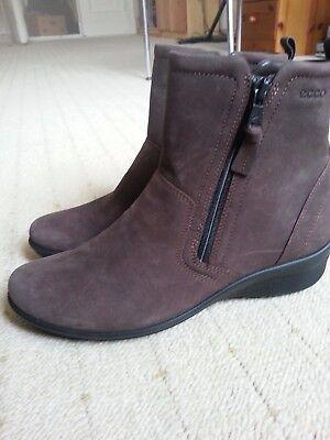 NEU Ecco Damen Wedge Stiefel Gr 36 echt Leder NUBUK NP 139€ leicht taupefarbe | eBay