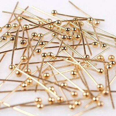 New Charm Golden Tone Copper Ball Head Pins Findings Fit Jewelry Making