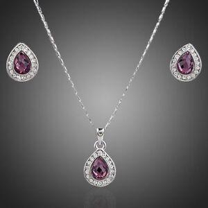 Gold-Plated-Crystal-Swarovski-Element-Purple-Jewellery-Set-Necklace-Earrings