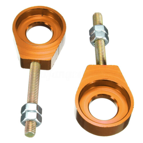Pair 15mm ALLOY PIT DIRT BIKE CHAIN TENSIONERS ADJUSTER PITBIKE 110cc 125cc