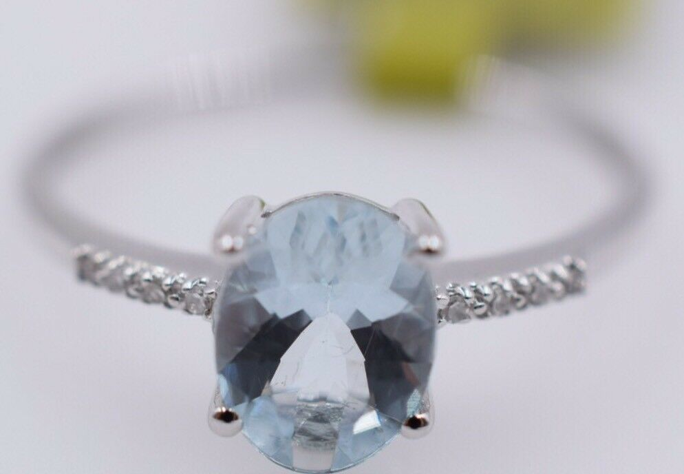 Ladies 14k Aqua Diamond 1.00ct