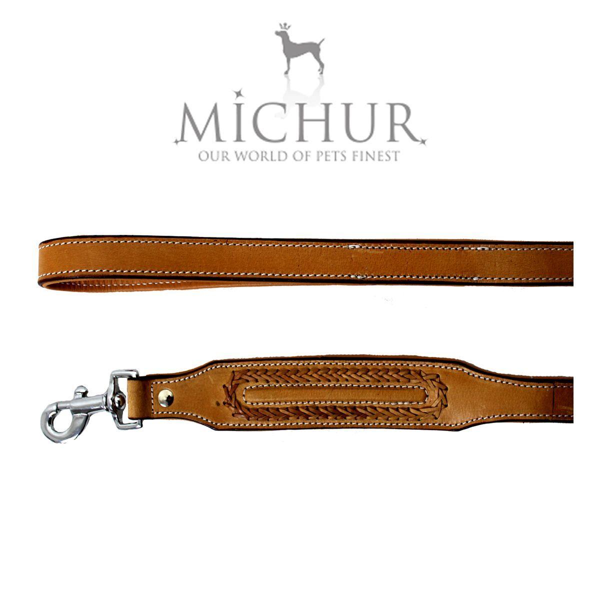 Michur Maria Beige Leine Hundeleine Flachleine Lederleine Hunde 120cm Breit Breit Breit 7467e9