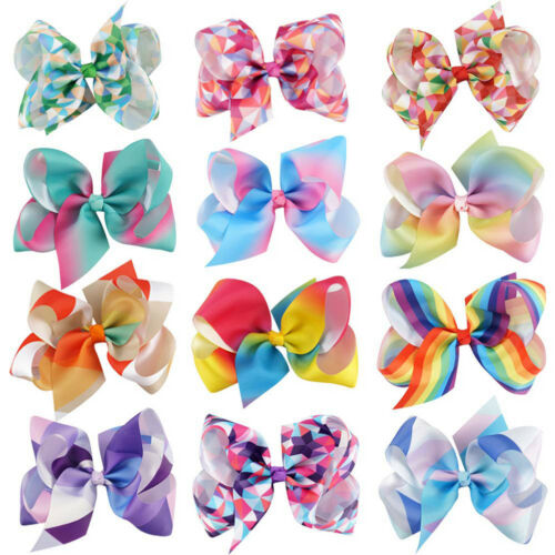 """5/"""" Rainbow hair bow with clips for kids girls boutique plaid-printed ribbon bow/&"""