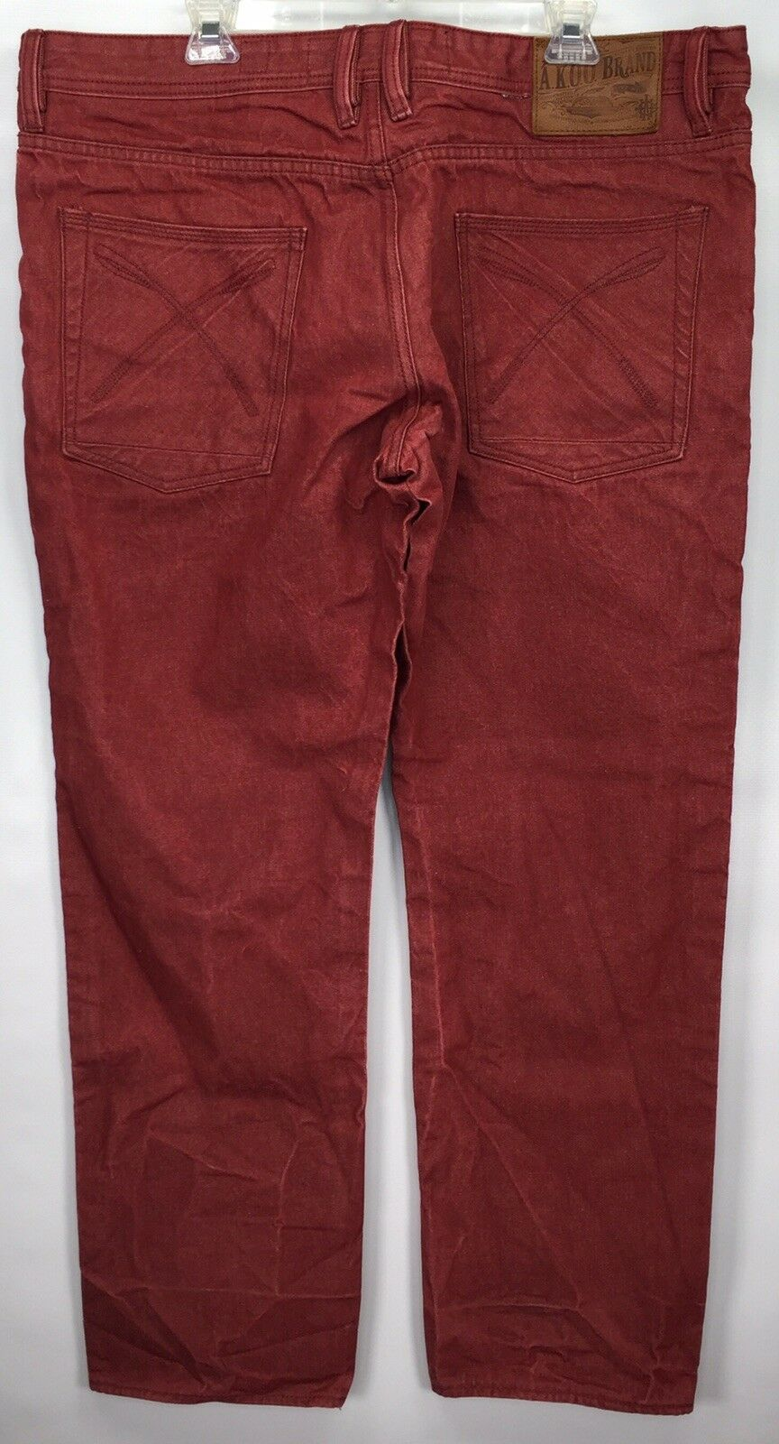 "AKOO Brand Designer Red Jeans Men's 40 (mea 42x33) ""Live Full Live Well"" Hip-Hop"