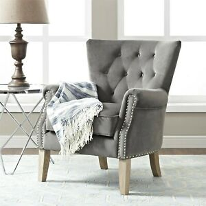 Surprising Details About Traditional Upholstered Rolled Arm Accent Chair Soft Gray Fabric Living Room New Ibusinesslaw Wood Chair Design Ideas Ibusinesslaworg