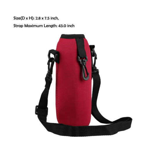 Drinking Water Bottle Carrier Insulated Cover Case Pouch Bag+Shoulder Strap Set