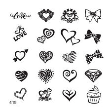 MoYou Square Stamping Art Image Plate 419 Bridal Style, Hearts, Bow, Template
