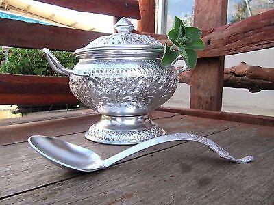 Vintage Thai Design Bowl Ladle Aluminum Pot put serving rice Or curry soup 20 Cm