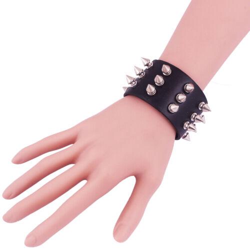 PU Leather Punk Bangle Metal Rivet Spike Bracelet Wrist Band Black Gothic R DD