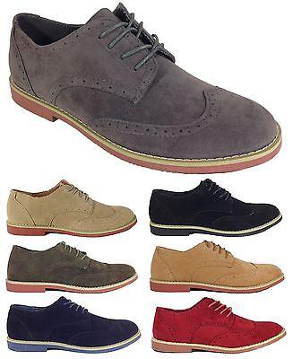 NIB Mens Dress Shoes Oxfords Wing Tip Faux Suede Lace up Rubber Sole Black DAK02