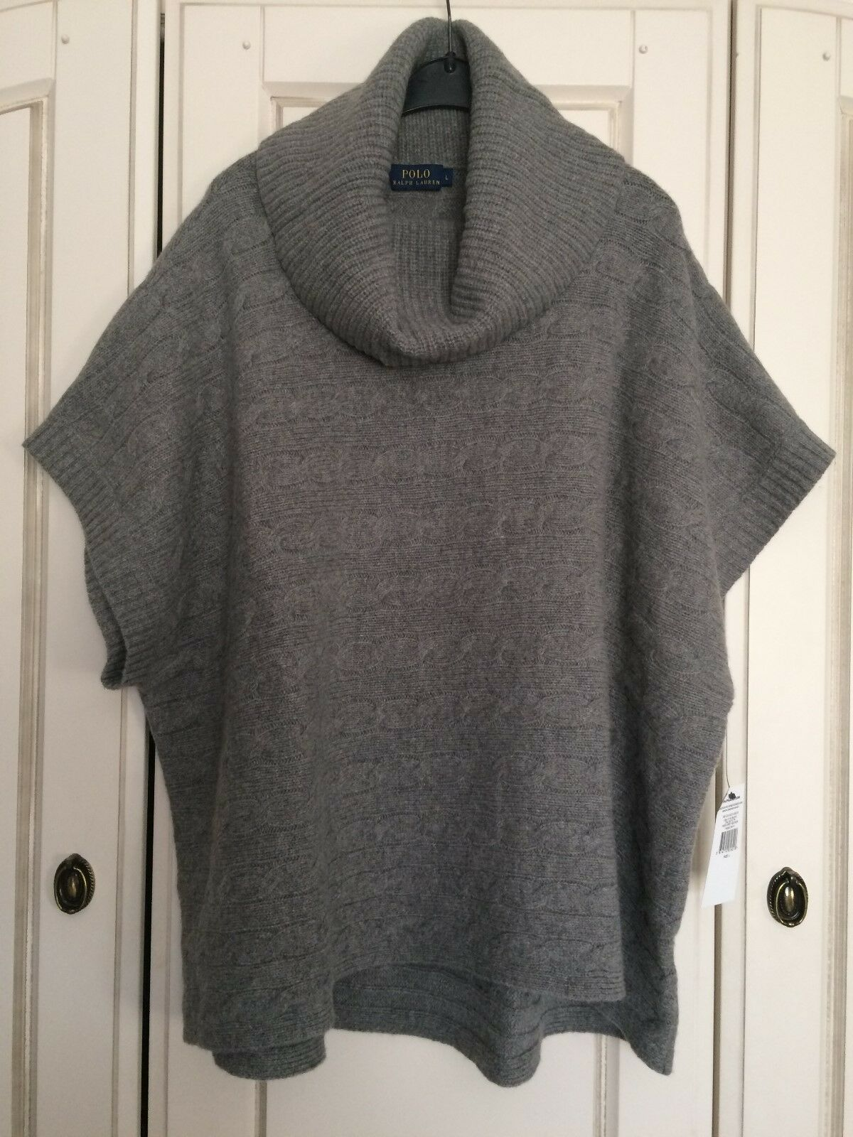 2230b11a0d4 BNWT Polo Ralph Grey Cable Knit Merino Wool & Cashmere Mix Poncho ...