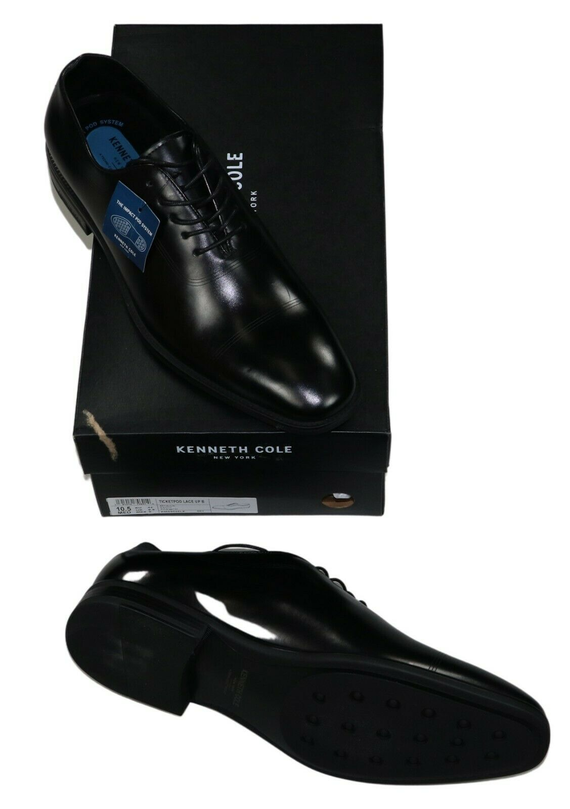 Kenneth Cole New York Ticketpod Lace-Up Dress Shoes Black 10.5 Store Display
