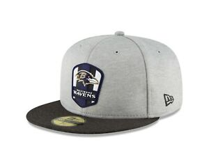 fe649a2c Details about Baltimore Ravens New Era Road Sideline 59FIFTY Fitted Hat -  Gray /Black