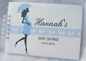 Image Is Loading PERSONALISED BABY SHOWER PREGNANCY RECORD MESSAGE BOOK  SCRAPBOOK