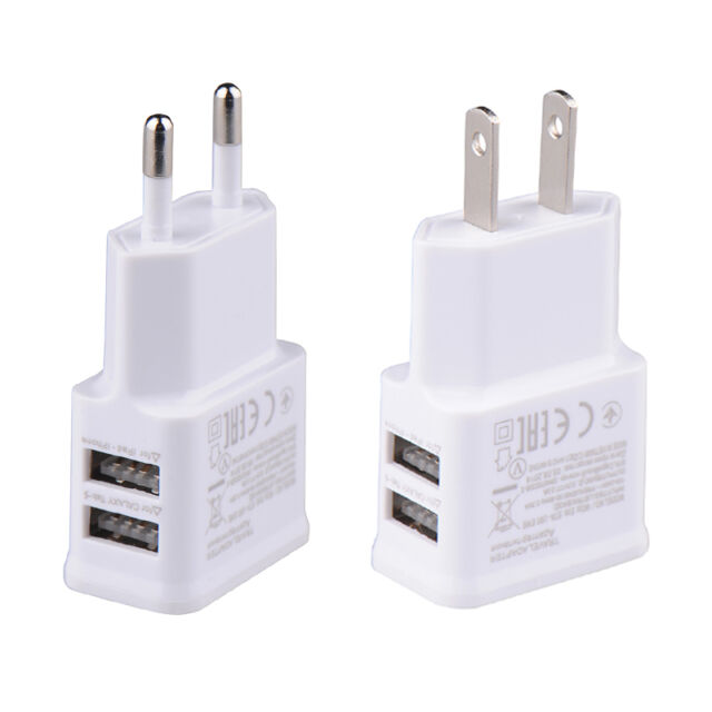 1A 2A AMP Fast Dual Twin 2 Port USB Charger US EU Mains Wall Plug Adapter