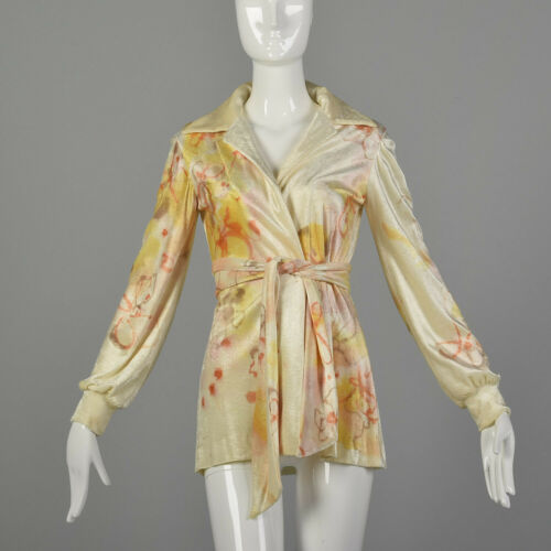XS Holly Harp Cream Top 1970s Hand Painted Wrap Sh