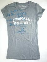 Aeropostale Womens Ladies Grey Graphic T-shirt Size Petite Small T162 A1