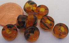 35 Czech Glass Tortoise Tiger Stripe Foil-Lined Large Pony Beads 9mm x 6mm