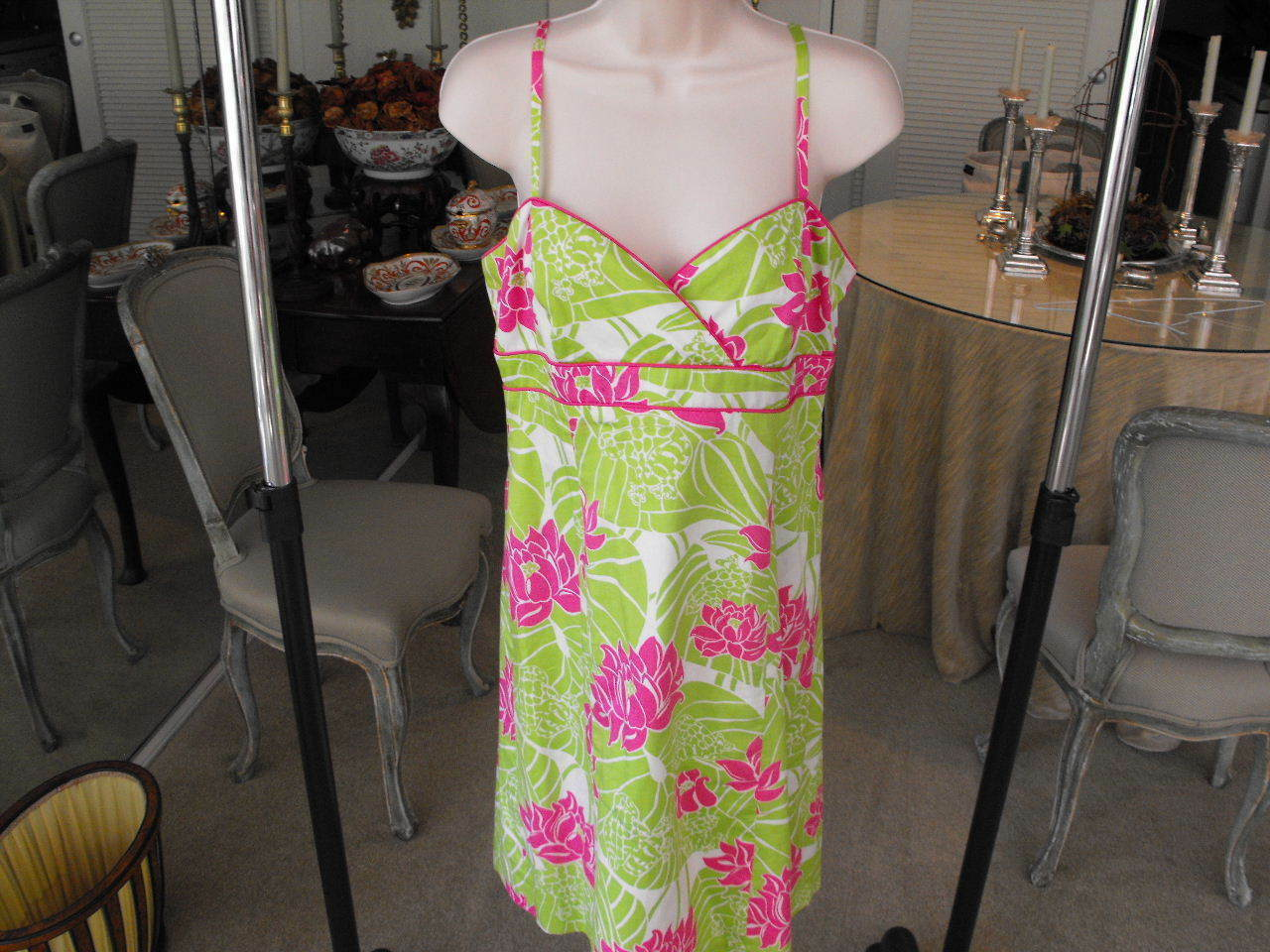 Wonderul LILLY PULITZER Lime Green Pink Cotton Sun Dress w Shoulder Straps 8R