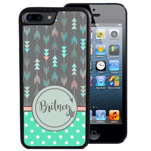 PERSONALIZED-RUBBER-CASE-FOR-iPHONE-XR-XS-MAX-8-7-6-PLUS-ARROWS-TEAL-DOT-TRIBAL