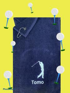 Personnalisé Golf Serviette, Brodé Design Nom initiales (Pince à ressort incl)