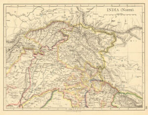 BRITISH INDIA NORTH Jammu Kashmir Punjab Himalayas JOHNSTON 1892 old ...