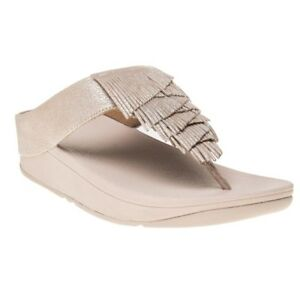 52489e826 New WOMENS Fitflop NUDE LIQUID CHA CHA LEATHER SANDALS FLIP FLOPS