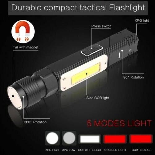 Super Bright 55000LM LED Flashlight USB Rechargeable 5Modes Magnet Torch Light