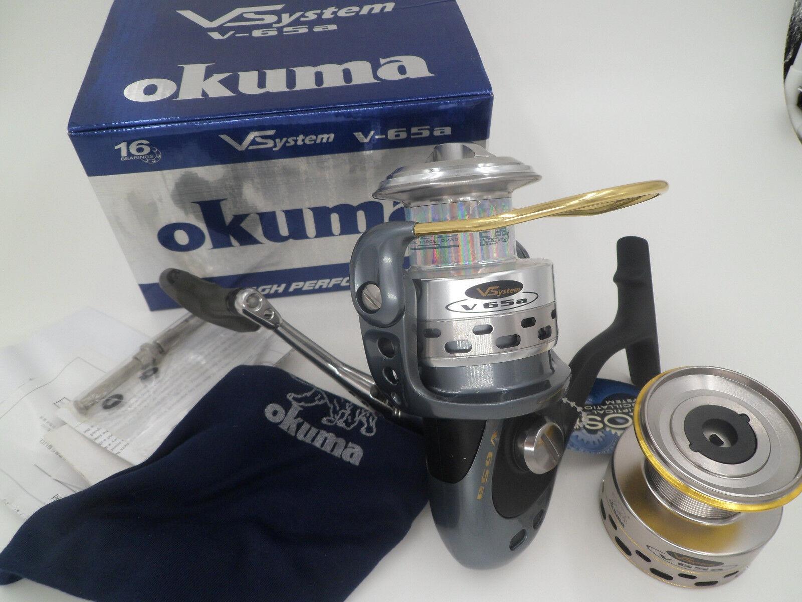 Okuma Vsystem V-65a Aluminum Spinning Fishing Reel with extra spool 15B+1RB