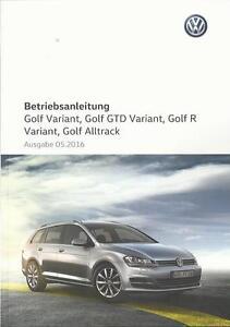 Details Zu Vw Golf Variant 7 Betriebsanleitung 2016 Bedienungsanleitung Gtd R Alltrack Ba