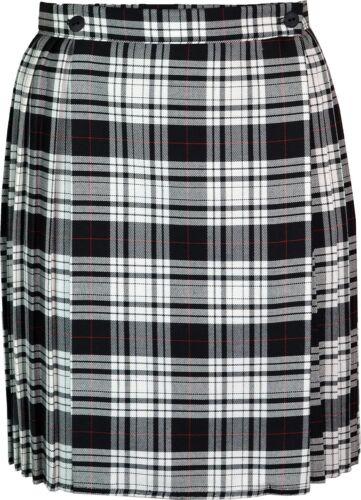 Ladies//Womens Tartan Pleated Mini Skirt Waist Buttons Fastening 18 Inch KK17
