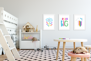 Set of 3 Nursery Prints Set Raindrops Dream Big Prints For Bedroom Rainbow