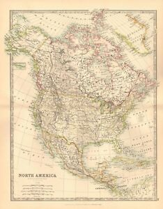 1891 Antique Map North America Canada Usa Central America West