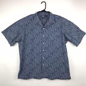 Polo-Ralph-Lauren-Caldwell-Shirt-Men-s-Size-XL-Blue-Flowers-Floral-Short-Sleeves