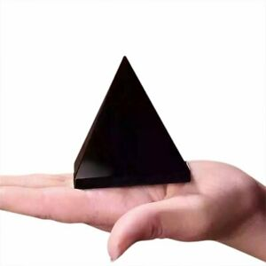 100-Natural-Obsidian-Pyramid-Shape-Quartz-Healing-Crystal-Specimen-Black-EA